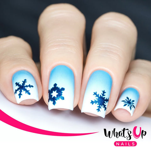Whats Up Nails - Jolly Snowflakes Stickers & Stencils (Silver)
