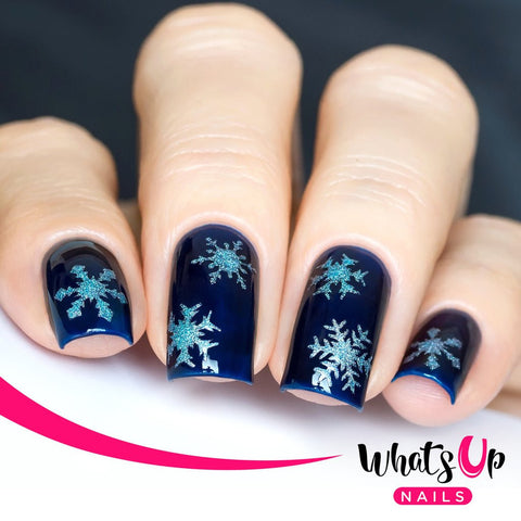 Whats Up Nails - Merry Snowflakes Stickers & Stencils (Silver)