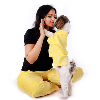 Yellow Windowpane Pajama Shirt