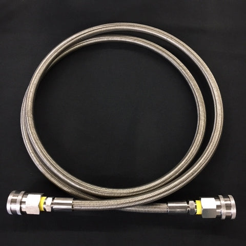 "3/8"" Stainless Steel Braided PTFE Hose with Female Quick Connects"