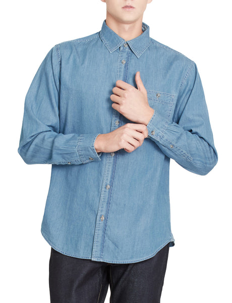 LE3NO PREMIUM Mens Vintage Long Sleeve Button Down Work Denim Shirt