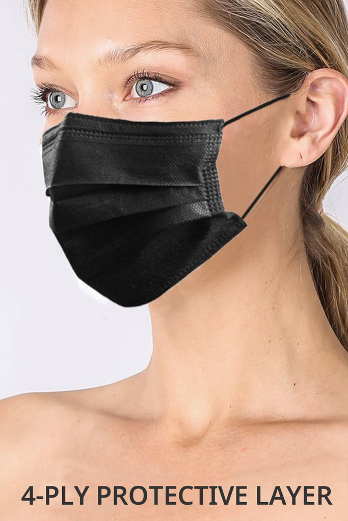 20 PCS Disposable Non Medical 4 Ply Layer Black Protective Face Mask