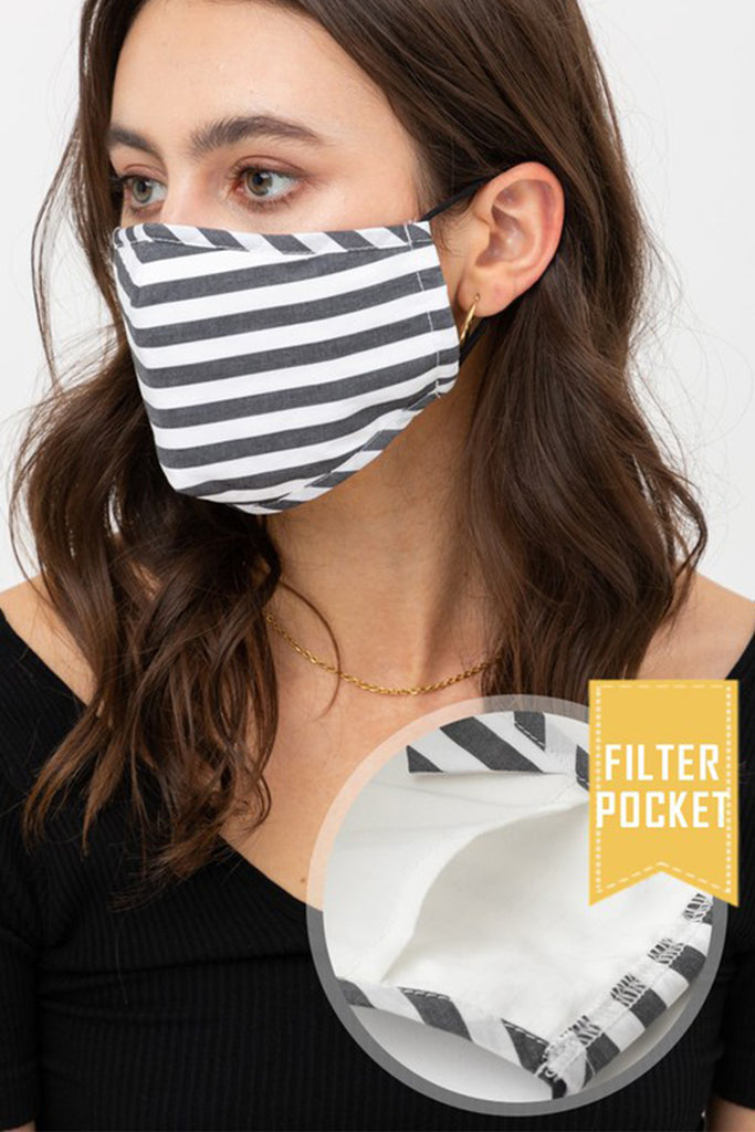 Striped Printed Protective Washable Face Mask with Filter Pocket