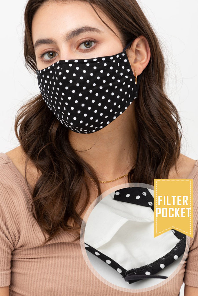 Polka Dot Printed Protective Washable Face Mask with Filter Pocket