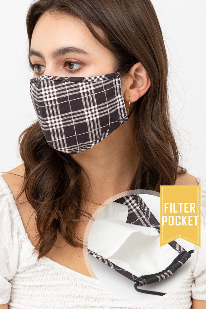 Plaid Printed Protective Washable Face Mask with Filter Pocket