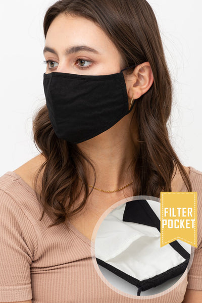 Solid Color Protective Washable Face Mask with Filter Pocket