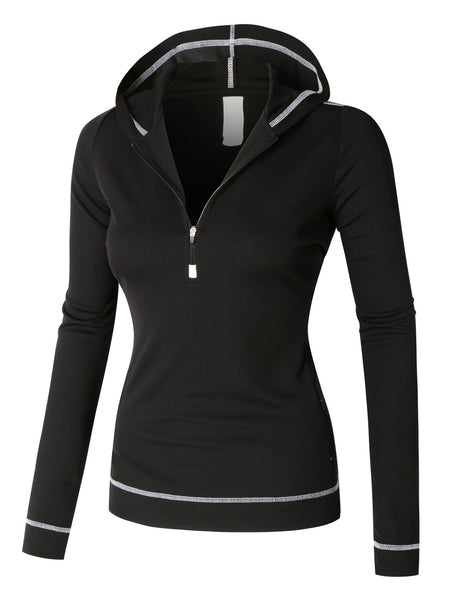 PREMIUM Lightweight Long Sleeve Active Sports Jacket Top with Hoodie