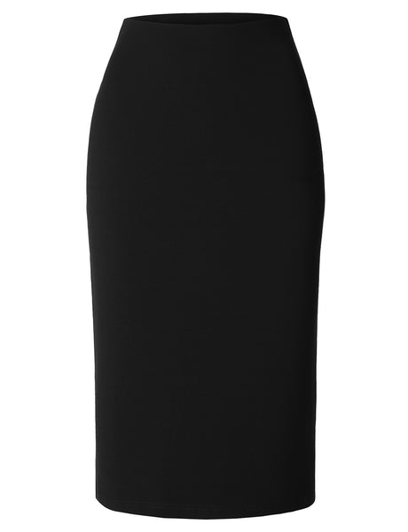 LE3NO Womens Mediumweight High Waisted Pencil Midi Skirt with Stretch
