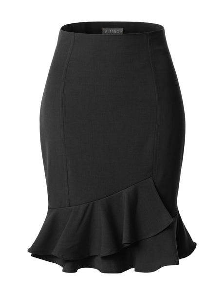 Fitted High Waisted Ruffle Pencil Office Midi Skirt with Stretch (CLEARANCE)