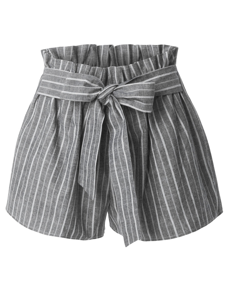 a4e3ab3405 High Waisted Belted Ruffle Striped Shorts with Ribbon Tie Closure ...