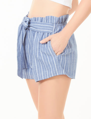 5b15f8b6261 LE3NO Womens High Waisted Belted Ruffle Striped Shorts with Ribbon Tie  Closure