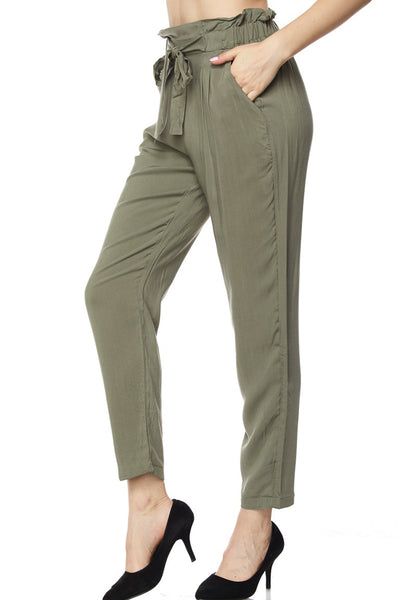 High Waisted Slim Straight Leg Pleated Loose Casual Long Pants