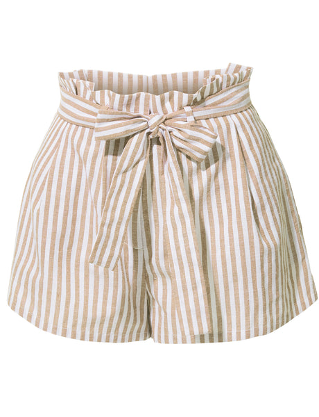 LE3NO Womens Casual Linen High Waisted Striped Short Pants with Belt