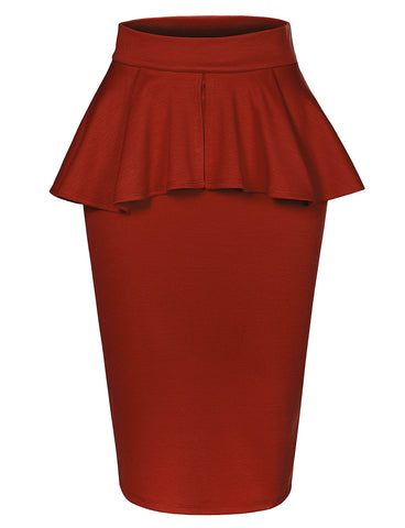 fe6cf409c2 Slim Fit Work Office High Waisted Ruffle Pencil Midi Skirt with Stretch