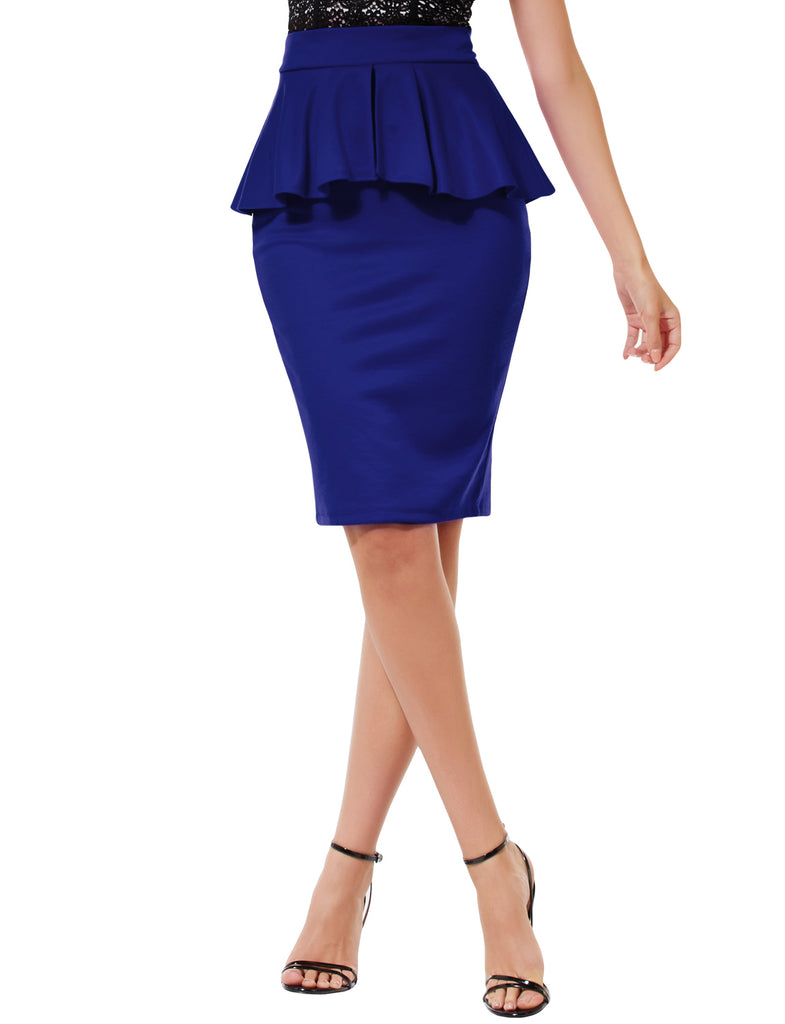 69358e4776c8 LE3NO Womens Slim Fit Work Office High Waisted Ruffle Pencil Midi Skirt  with Stretch