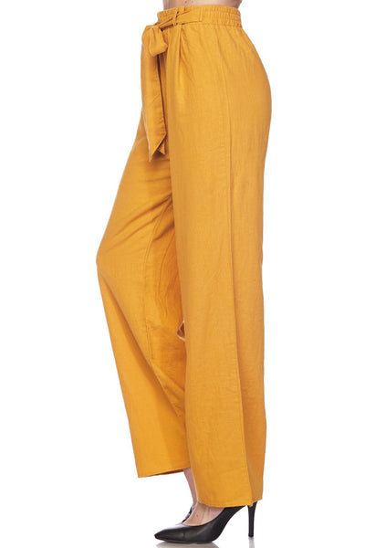 Casual High Waisted Self Tie Wide Leg Linen Palazzo Pants