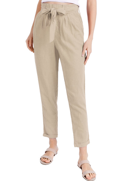 Casual Linen Blend Paper Bag Trouser Pants With Pockets (CLEARANCE)