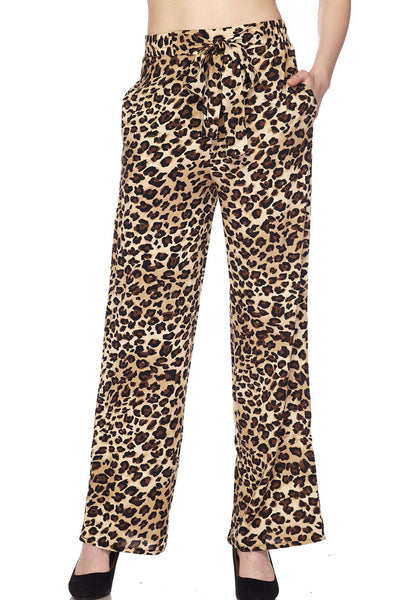 High Waisted Leopard Print Wide Leg Palazzo Pants with Front Self Tie