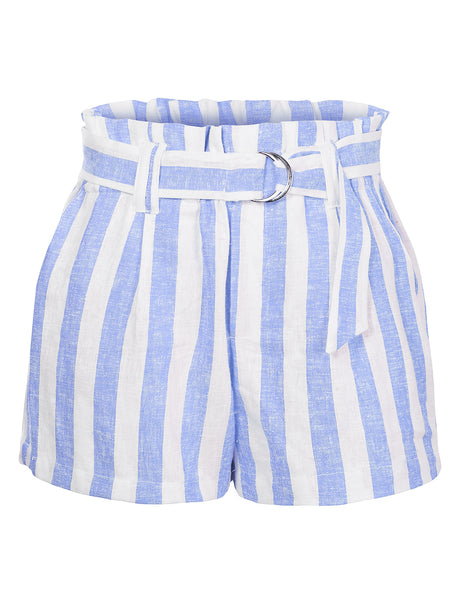 Casual Linen Striped High Waisted Paperbag Belted Shorts with Pockets