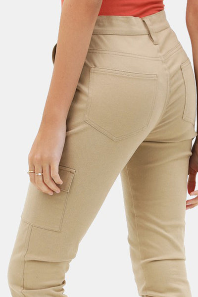Casual Relaxed Fit Cargo Pocket Cropped Trouser Pants