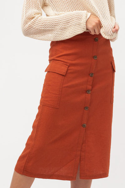 High Waisted A-Line Button Down Linen Cargo Midi Skirt