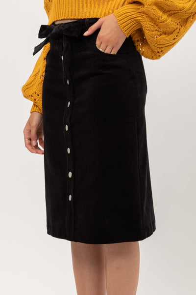 High Waisted Button Down Corduroy Midi Skirt With Self Tie Belt