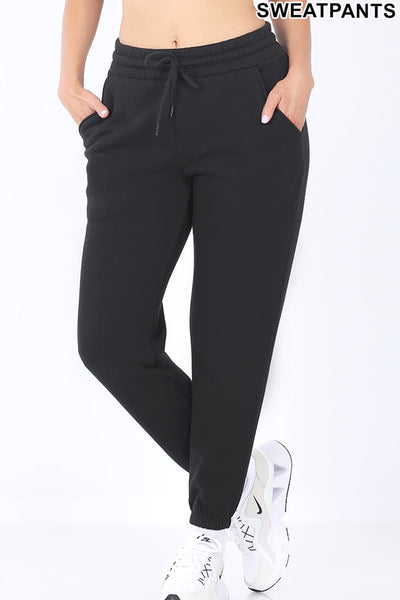 Active Elastic Waist Jogger Sweatpants with Pockets