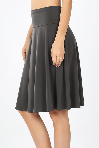 Lightweight Fold Over A Line Flared Midi Skirt