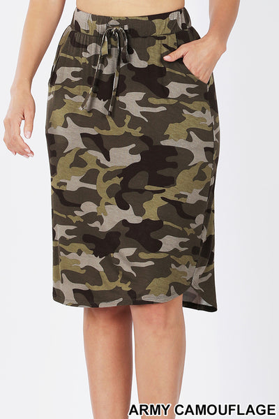 Camouflage Print Elastic Waist Tulip Hem Knee Length Skirt with Pockets