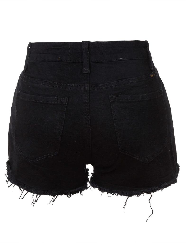 black ripped shorts womens
