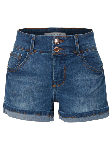 High Waisted Stretchy Denim Jean Shorts with Pockets (CLEARANCE)