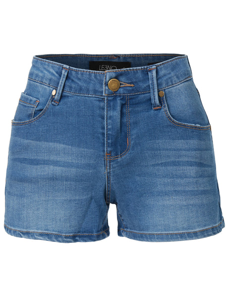 Fitted Stretchy Denim Shorts with Pockets (CLEARANCE)