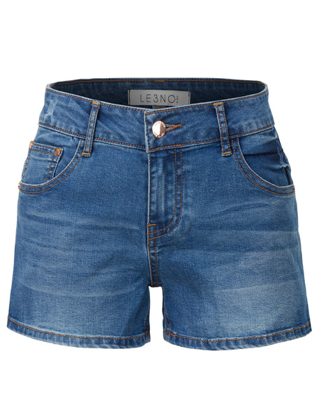 LE3NO Womens High Rise Stretchy Denim Jean Shorts with Pockets