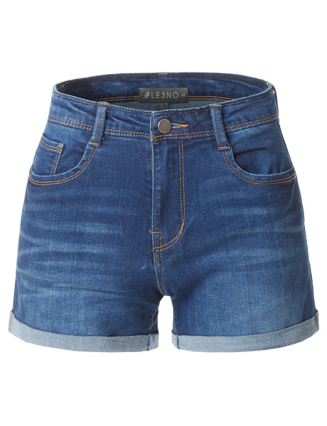 Casual High Waisted Fitted Cuffed Hem Denim Shorts (CLEARANCE)