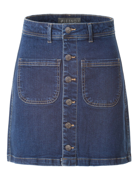 Casual Vintage Button Down A-Line Denim Skirt