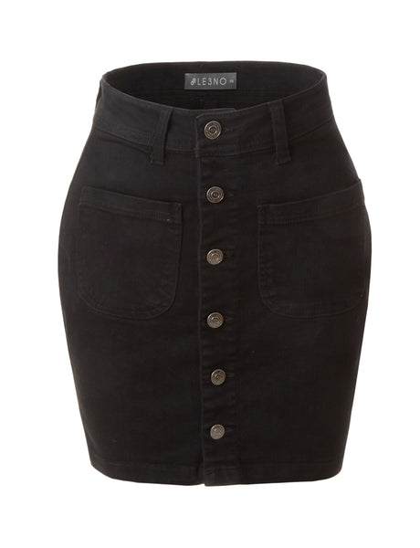 Casual Vintage Black Button Down A-Line Denim Skirt (CLEARANCE)