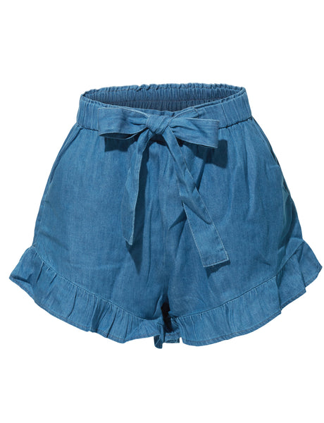 Stretchy High Waisted Ruffled Denim Tencel Short with Pockets