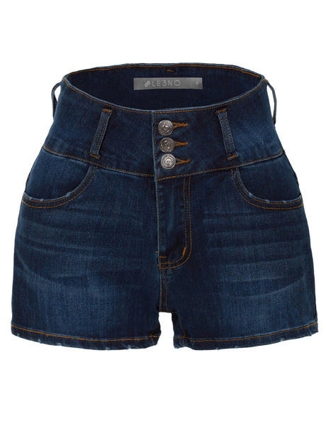 Stretchy High Rise Washed Button Down Denim Shorts with Pockets