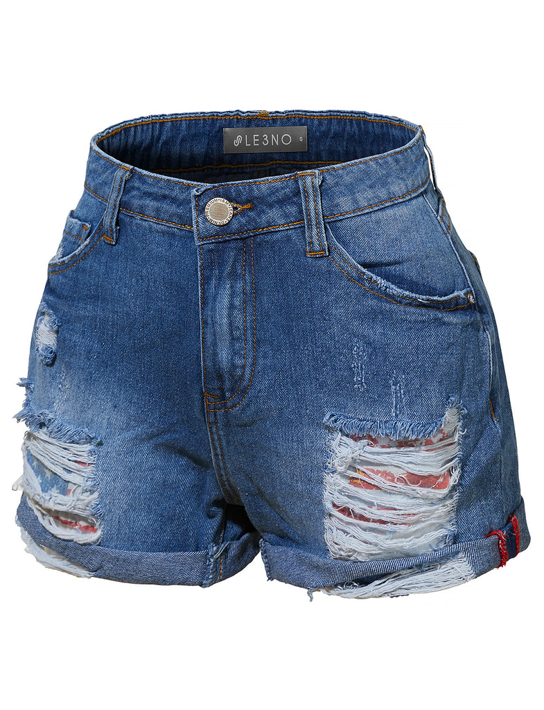 836fa0f3bc Casual Distressed Ripped Mid Rise Denim Shorts with Rolled Cuff (CLEARANCE)