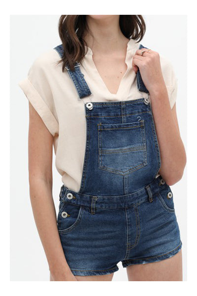 Classic Casual Denim Overall Shorts with Pockets