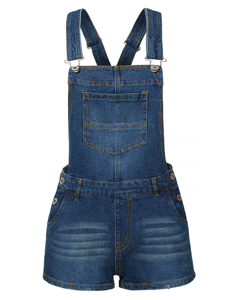 Classic Casual Denim Overall Shorts with Pockets (CLEARANCE)