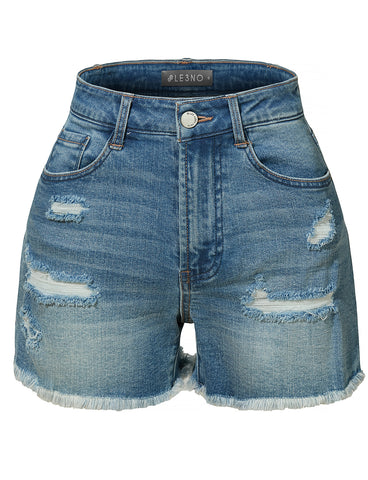 ade084942a9 LE3NO Womens High Rise Washed Frayed Hem Denim Short with Stretch  (CLEARANCE)