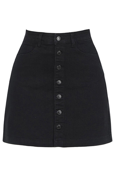 Casual Mid Rise Stretchy Button Up A-Line Denim Skirt (CLEARANCE)