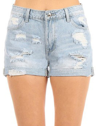 Vintage High Rise Distressed Rolled Cuff Denim Shorts