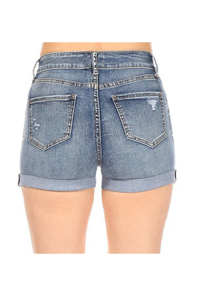 Womens Vintage Tencel Blend Distressed Rolled Cuff Denim Shorts