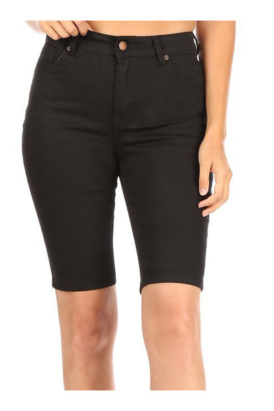 High Rise 5 Pocket Denim Bermuda Capri Shorts