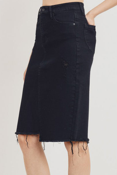 High Rise Distressed Ripped Frayed Denim Midi Skirt