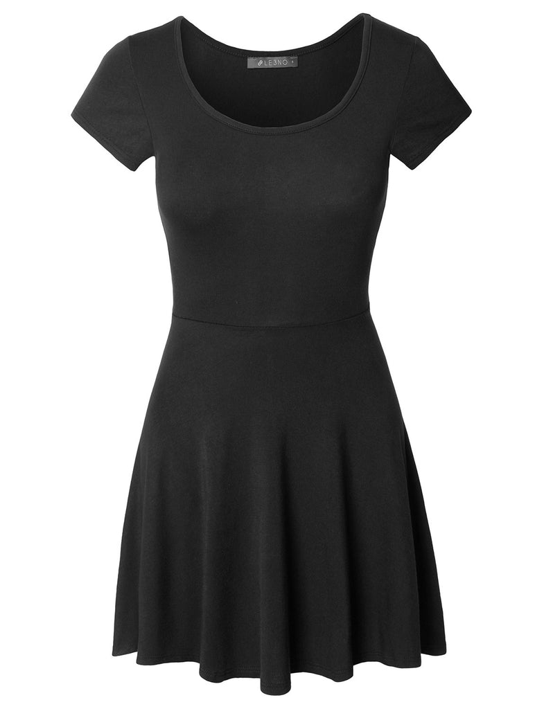 561c741e Casual Short Sleeve Fit and Flare Asymmetrical Skater Dress · BLACK ...