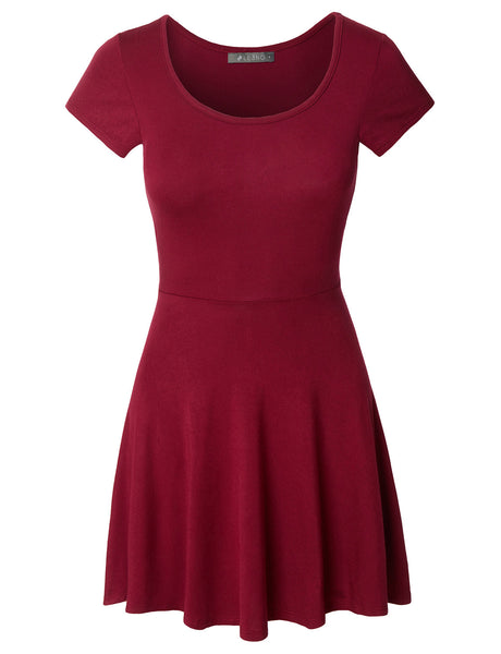 Casual Short Sleeve Fit and Flare Asymmetrical Skater Dress (CLEARANCE)
