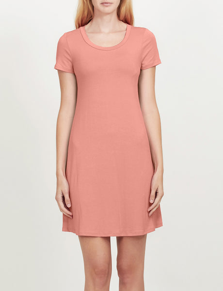 LE3NO Womens Lightweight Short Sleeve Flared Tunic Dress